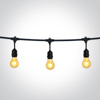 0994/B BLACK STRING LIGHTS IP44 8,5m 15x E27 60w