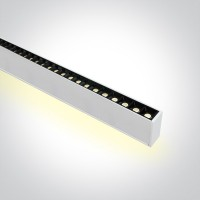 38150BU/W/W WHITE 48pcs SPOTS 40W 34d UGR17 + UPLIGHT LED 20W 120d WW 1300mm LINEAR 230V DARK LIGHT