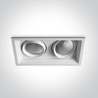 51220TR/W/W WHITE COB LED 2x20w WW 36d IP20 SEMI-TRIMLESS + DRIVER 230v