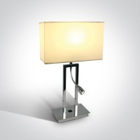 61044A/C/W CHROME TABLE LAMP LED 3W + 40W E27 WHITE SHADE