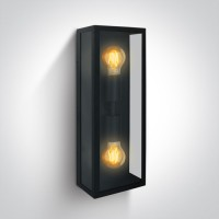67406B/B BLACK WALL LIGHT 40W 2xE27 IP43