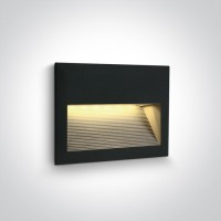 68016/B/W BLACK WALL RECESSED LED 2W WW IP54