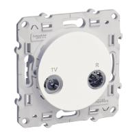Розетка TV/R, единствен изход, Бял