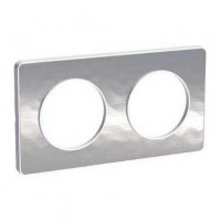Двойна рамка, хоризонтален и вертикален монтаж, Odace Touch, Кован алуминий