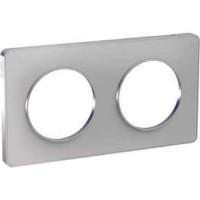 Двойна рамка, хоризонтален и вертикален монтаж, Odace Touch Aluminium, Боядисан алуминий