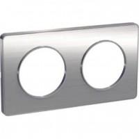 Двойна рамка, хоризонтален и вертикален монтаж, Odace Touch Aluminium, Драскан алуминий