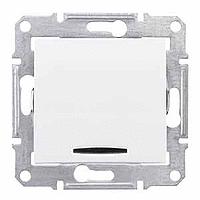 Кръстат ключ 10 A – 250 V AC с червена индикаторна лампа, Бял