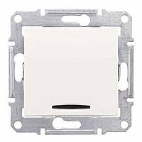 Кръстат ключ 10 A – 250 V AC с червена индикаторна лампа, Крема