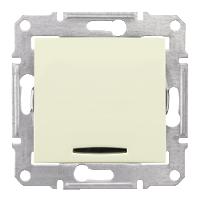 Кръстат ключ 10 A – 250 V AC със синя глим-лампа, Бежов