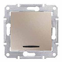 Кръстат ключ 10 A – 250 V AC с червена индикаторна лампа, Титаний