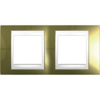 Двойна рамка Unica Plus, Злато/Бял