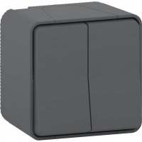 Mureva Styl - double two-way switch - surface mounting - grey