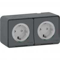 Mureva Styl - double power socket-outlet with sideE - 16A 250V - 2P + E with shutters - grey