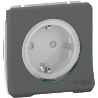 Mureva Styl - power socket-outlet with sideE - 16A 250V - 2P + E with shutters - grey