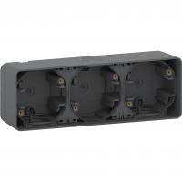 Mureva Styl - surface mounted box - 3 gangs horizontal- grey