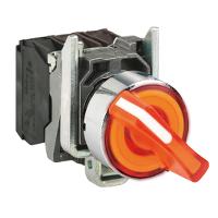 Светещ превключвател със стандарта дръжка (1 N/O + 1 N/C) оранжев