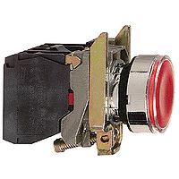 Пусков светещ бутон (1 N/O + 1 N/C) без включена крушка, без маркировка, червен