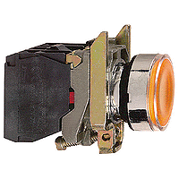 Пусков светещ бутон (1 N/O + 1 N/C) без включена крушка, без маркировка, оранжев