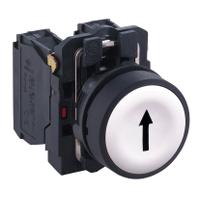 Пусков бутон (1 N/O) черна стрелка нагоре, бял