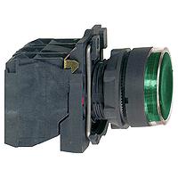 Пусков светещ бутон (1 N/O +1  N/C) BA 9s ≤250 V, зелен
