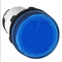 Сигнална лампа със захранване на крушка BA 9s през резистор 230 V AC, син