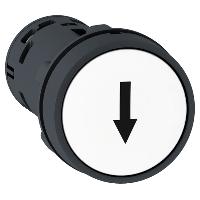 """Пусков бутон (1 N/O + 1 N/C) бял, черна стрелка надолу """"↓"""""""