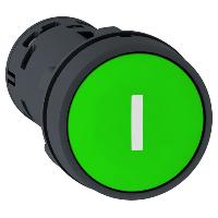 """Пусков бутон (1 N/O) зелен, бяла линия """"I"""""""