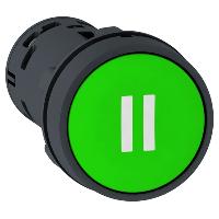 """Пусков бутон (1 N/O) зелен, две бели линии """"II"""""""