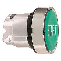 """Зелен бутон наравно с повърхността с вързвръщаема пружина, бял надпис """"START"""""""