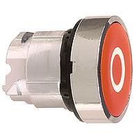 """Червен бутон наравно с повърхността с вързвръщаема пружина, бял символ """"O"""""""
