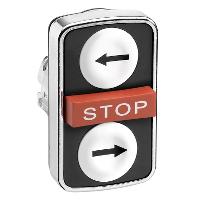 """Черен бутон с три глави 2 пускови/1 изпъкнала, маркирано с бяла """"←"""", бяла """"→"""", Red """"Stop"""""""