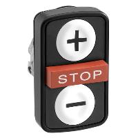 """Черен бутон с три глави 2 пускови/1 изпъкнала, маркирано с бяла """"+"""", бял """"-"""", червен знак """"STOP"""""""