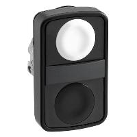 Черен бутон с две глави 2 пускови, маркирано с бяла/черна