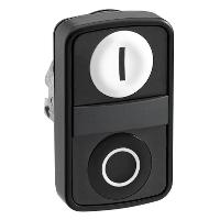 """Черен бутон с две глави 2 пускови, маркирано с бяла """"I"""", черен знак """"O"""""""