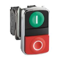"""Черен бутон с две глави 2 пускови, маркирано с зелена """"I"""", червен знак """"O"""""""