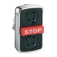 """Черен бутон с три глави 2 пускови/1 изпъкнала, места без капаци, червен знак """"STOP"""""""