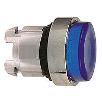 Синя глава за изпъкнал бутон, натискане и освобождавне чрез натискане, вграден LED