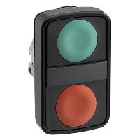 Бутон с две глави пускова/изпъкнала, зелена/червена, черен метал
