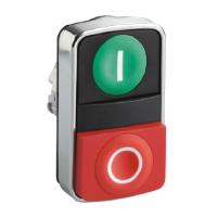 """Бутон с две глави , маркирано с зелена """"I"""", червен знак """"O"""""""