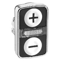 """Бутон с две глави  2 пускови/1 централна светлинна лампа, маркирано с бял """"+"""", бял """"-"""""""